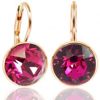 NOBEL SCHMUCK Ohrringe Rosegold Pink mit Kristallen von Swarovski® 925 Sterling