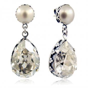 Jugendstil Ohrringe Silber mit Kristallen von Swarovski® NOBEL SCHMUCK