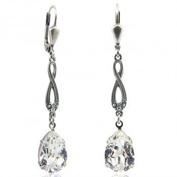 Jugendstil Ohrringe mit Kristalle von Swarovski® Silber NOBEL SCHMUCK