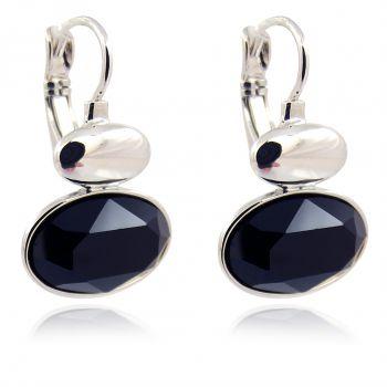 Ohrringe Silber mit Kristallen von Swarovski® Schwarz Klappverschluß NOBEL SCHMUCK