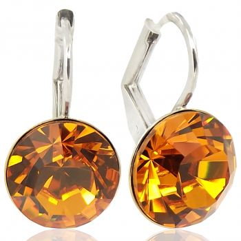 Ohrringe Braun mit Kristallen von Swarovski® Silber Topaz NOBEL SCHMUCK