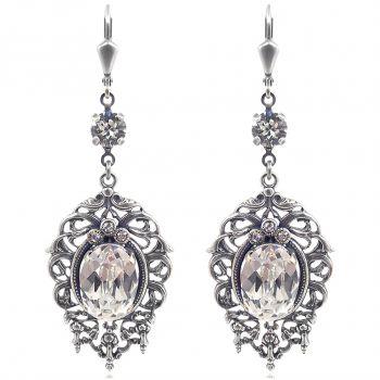 Jugendstil Ohrringe mit Kristalle von Swarovski® Silber VIELE FARBEN Nobel Schmuck