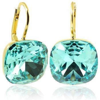 Ohrringe Türkis mit Kristallen von Swarovski® Gold NOBEL SCHMUCK