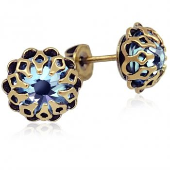 Ohrstecker mit Kristallen von Swarovski® Gold Blau Romantisch NOBEL SCHMUCK