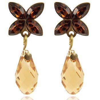 Ohrstecker Gold hängend mit Kristallen von Swarovski® Braun NOBEL SCHMUCK