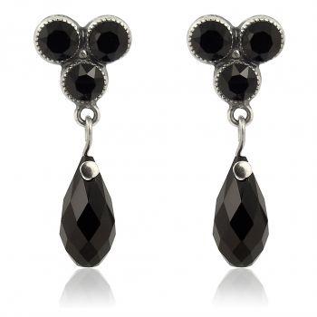 Ohrringe mit Kristalle von Swarovski® Silber Schwarz Ohrstecker NOBEL SCHMUCK