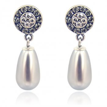 Ohrstecker Perle mit Kristallen von Swarovski® Silber Viele Farben NOBEL SCHMUCK
