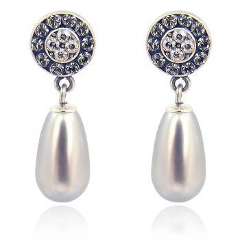 Ohrstecker Perle mit Markenkristallen Silber Viele Farben NOBEL SCHMUCK