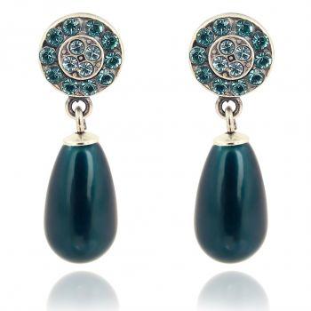 Perlenohrringe mit Kristallen von Swarovski® Silber Blau Petrol NOBEL SCHMUCK