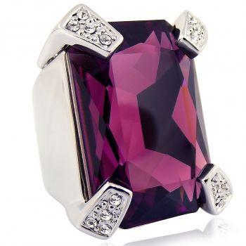 Damen-Ring Cocktailring mit Kristallen von Swarovski® Größe 56 Silber Lila NOBEL SCHMUCK