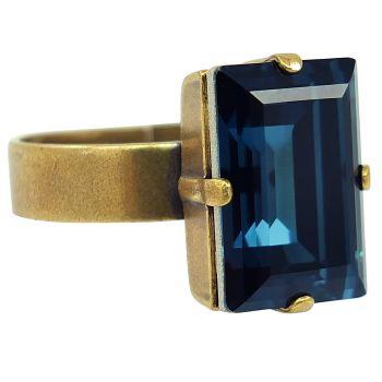 Damen-Ring mit Kristall von Swarovski® Gold VIELE FARBEN Größe Variabel NOBEL SCHMUCK