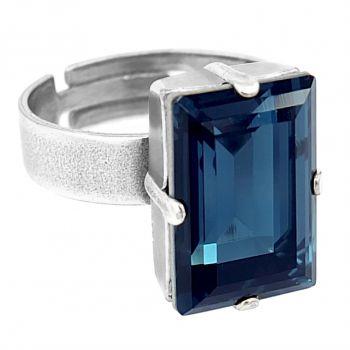 Damen-Ring mit Kristall von Swarovski® Blau Silber Größe Variabel NOBEL SCHMUCK