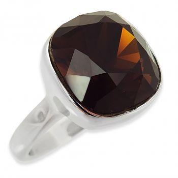 Ring mit Kristall von Swarovski® Braun Silber Gr. 56 NOBEL SCHMUCK