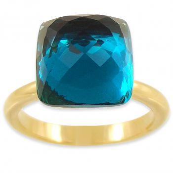 Ring mit Markenkristallen Edelstahl Gold Blau Indicolite NOBEL SCHMUCK