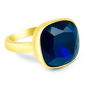 NOBEL SCHMUCK Damen-Ring Gold Blau großer Kristall Cocktailring mit Stein Dark Indigo