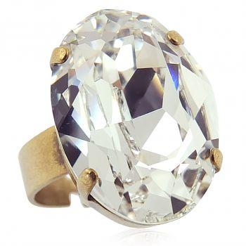 Ring mit Kristall von Swarovski® Gold Verstellbar Crystal NOBEL SCHMUCK