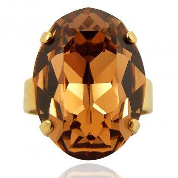 Ring mit Kristall von Swarovski® Gold Braun Variabel verstellbar NOBEL SCHMUCK