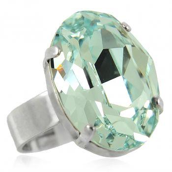 Ring mit Kristall von Swarovski® Silber Blau Variabel verstellbar NOBEL SCHMUCK