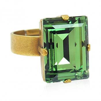 Goldener Ring mit grünem Kristall von Swarovski® verstellbar NOBEL SCHMUCK