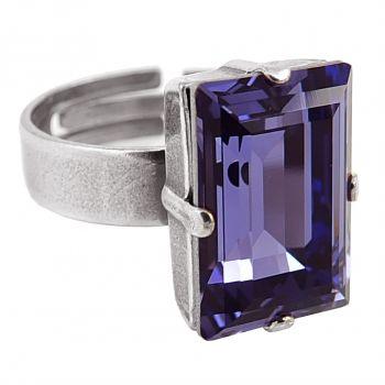 Damen-Ring mit Kristall von Swarovski® Silber VIELE FARBEN Größe Variabel NOBEL SCHMUCK