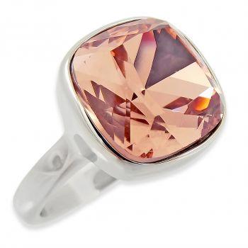 Ring Edelstahl mit Kristall von Swarovski® Silber Rosa NOBEL SCHMUCK