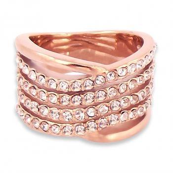 Damen-Ring breit Rosegold mit Kristallen von Swarovski® Crystal NOBEL SCHMUCK