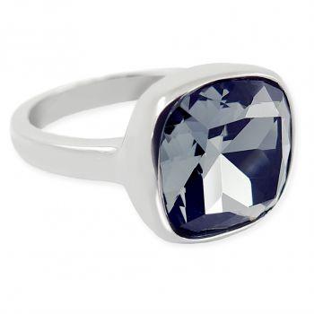 Damen-Ring Silber Schwarz mit Markenkristall NOBEL SCHMUCK