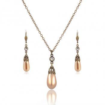 Schmuckset Perle mit Kristallen von Swarovski® Gold Bronze Pearl NOBEL SCHMUCK