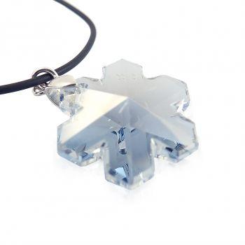 Schneeflocke von Kristall von Swarovski® 925 Silber Blau NOBEL SCHMUCK