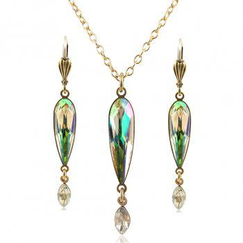 Schmuckset mit Kristallen von Swarovski® Grün Gelb Gold Luminous Green NOBEL SCHMUCK