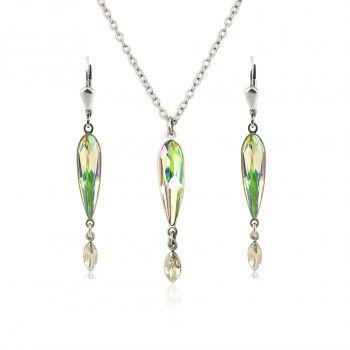 Schmuckset mit Kristallen von Swarovski® Grün Gelb Silber NOBEL SCHMUCK