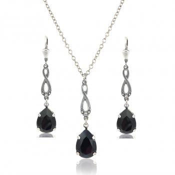 Schmuckset mit Kristallen von Swarovski® Schwarz Silber oder Gold NOBEL SCHMUCK