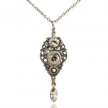 Jugendstil Kette mit Markenkristallen Silber viele verschiedene Farben NOBEL SCHMUCK