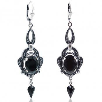 Jugendstil Ohrringe Schwarz Silber mit Kristallen von Swarovski® NOBEL SCHMUCK