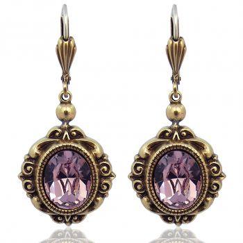 Vintage Ohrringe mit Kristallen von Swarovski® Gold Lila Rot NOBEL SCHMUCK