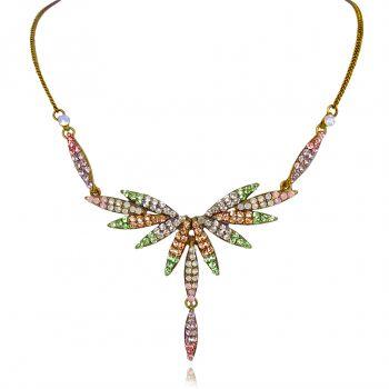 Vintage Kette Kristall Pastell Multicolor Antik Gold Halskette von PONG PONG
