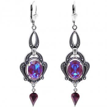 Jugendstil Ohrringe Lila Silber mit Kristallen von Swarovski® Burgundy Delite NOBEL SCHMUCK
