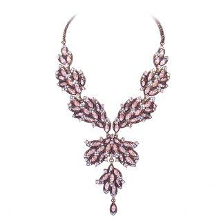 Nobel Vintage Kette Kristall Pastell Rose Antik Gold Halskette - romantisch opulent