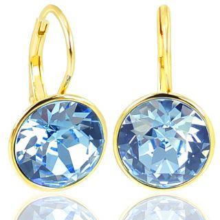 Ohrringe 925 mit Kristallen von Swarovski® Blau Gold NOBEL SCHMUCK