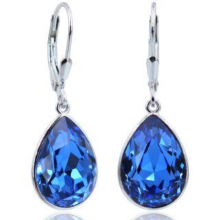 Ohrringe Silber Safir Blau mit Kristallen von Swarovski® Tropfen NOBEL SCHMUCK