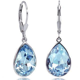 Silberohrringe mit Kristallen von Swarovski® Hellblau NOBEL SCHMUCK