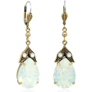 Nobel Goldene Vintage Ohrringe mit Kristallen von Swarovski® White Opal