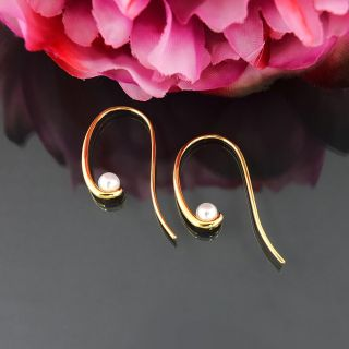 NOBEL SCHMUCK Creolen 925 Sterling Silber Gold Auflage - Perlen-Ohrringe Damen
