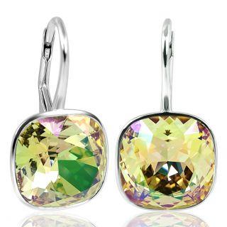 Ohrringe mit Kristalle von Swarovski® Grün Gelb 925 Silber NOBEL SCHMUCK