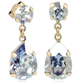 Goldene Ohrstecker Tropfen mit Kristallen von Swarovski® Blue Shade Nobel Schmuck