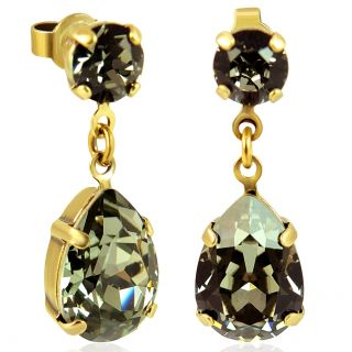 Nobel Ohrstecker Gold Tropfen mit Kristallen von Swarovski® Black Diamond
