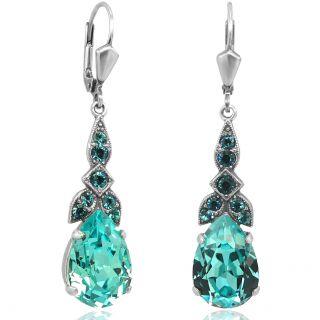Silber Ohrhänger Jugendstil mit Kristallen von Swarovski® Türkis NOBEL SCHMUCK