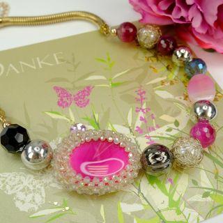 Damen-Kette Jade Gold Pink Statement Damen Halskette NOBEL SCHMUCK