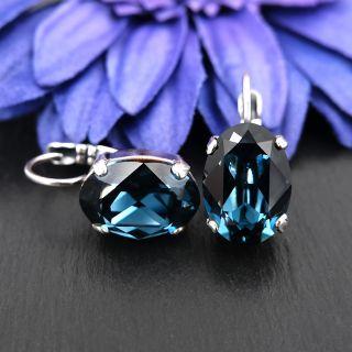 Kristall-Ohrringe Silber Montana Blau Klappverschluss NOBEL SCHMUCK
