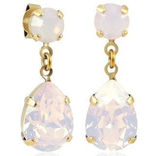 Nobel Ohrhänger Gold mit Tropfenanhänger aus Swarovski® Kristallen Rose Opal